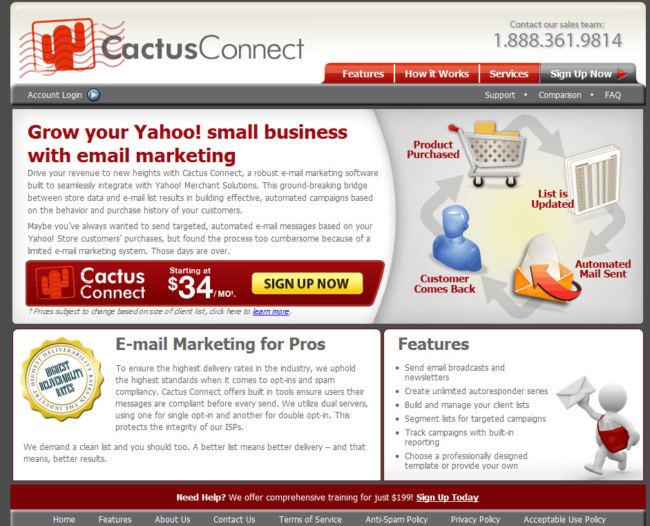 screen shot of cactus connect homepage