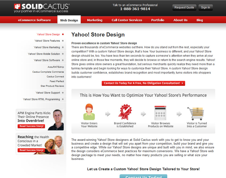 screen shot of cactus homepage showing web design