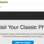 email from myspace that says revisit your classic photos