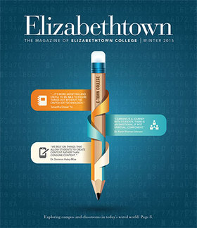 cover of elizabethtown magazine pencil with technology quotes