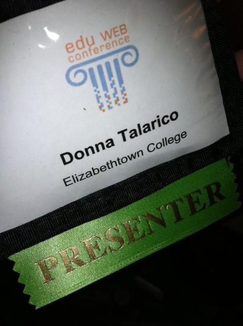 donna talarico's eduweb name tag with presenter flag