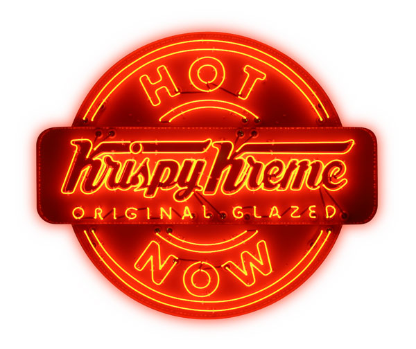 krispy kreme neon sign that says hot now doughnuts