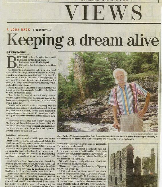 screenshot of times leader article on stoddartsville 2004