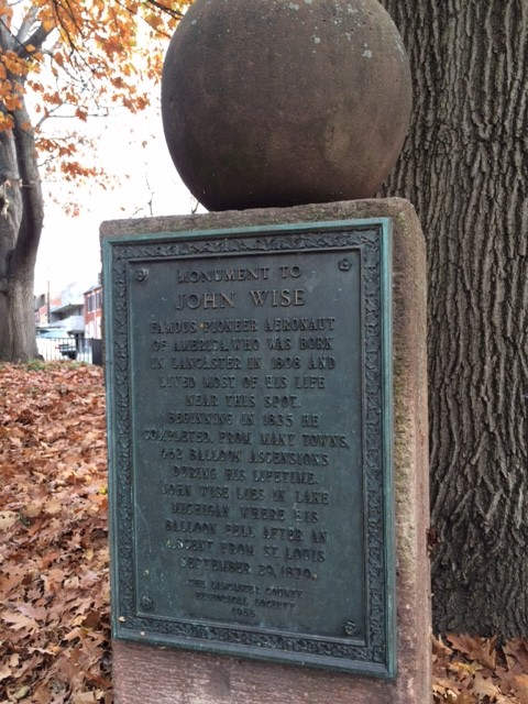 john wise lancaster plaque tells story of hot air balloon accident